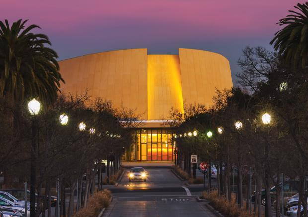 Bing Concert Hall with Pink Sunset