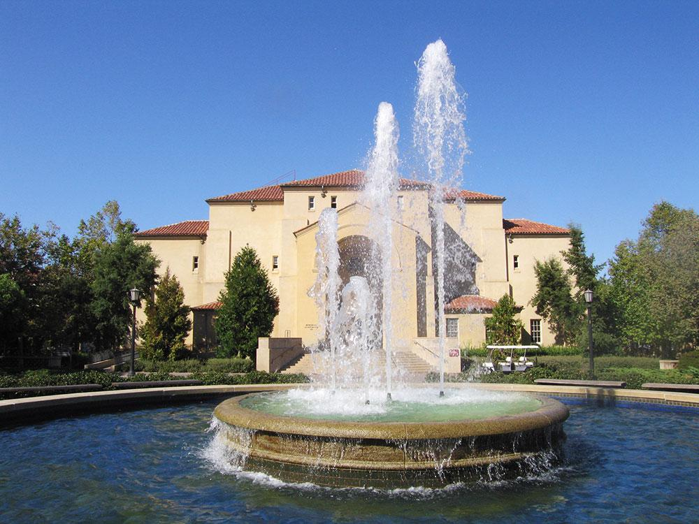 Memorial Auditorium and fountain